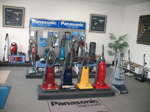 Our showroom of new vacuums, hoses and power nozzles.